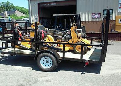 flatbed trailer with machinery